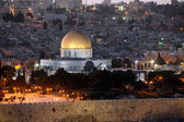 Evening in Old City, Temple Mount with Dome of the Rock view fro — Stock Photo