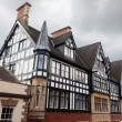 Black and white Tudor style buildings in Chester UK — Stock Photo
