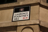 Laurence Pauntney Hill sign — Stock Photo