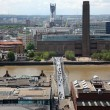 London from St Paul's Cathedral with Millenium bridge and Shakes - Stock Photo