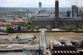 London from St Paul's Cathedral with Millenium bridge and Shakes — Stock Photo