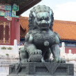 Traditional Imperial guard lion at the Gate of Supreme Harmony in Forbidden City, Beijing, China — Stock Photo #18464535
