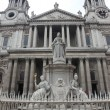 Statue of Queen Anne in Front of St. Pauls Cathedral, London - Stock Photo