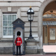Guard in traditional red uniform, London, England - Foto Stock