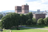 City Hall (Radhuset) behind the trees, Oslo, Norway — Stock Photo