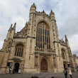 The gothic facade of Bath Abbey, England — Stock Photo