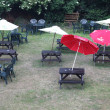 Stock Photo: Chairs and umbrellas at residental english yard