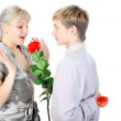Couple with gift and flower — Stock Photo #1971797