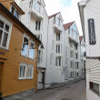 Stock Photo: Street with white houses in the old part of Stavanger, Norway