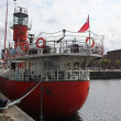 Liverpool waterside with red ship — Stock Photo