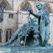 A bronze statue of Constantine I outside York Minster in England — Stock Photo