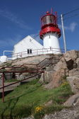 Lindesnes lighthouse in Norway, most southern destination of this country — Stok fotoğraf