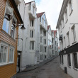 Street with white houses in the old part of Stavanger, Norway — Stock Photo