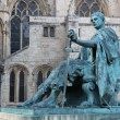 A bronze statue of Constantine I outside York Minster in England — Stock Photo #20831129