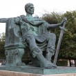 A bronze statue of Constantine I outside York Minster in England — ストック写真