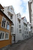 Street with white houses in the old part of Stavanger, Norway. — Stock Photo