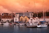 Harbour with old-style houses in Stavanger, Norway — Stock Photo