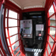 Inside the Red telephone box, London, UK - Stock Photo