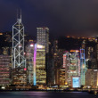 Hong Kong skyline at night against peak Victoria — Stock Photo