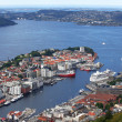 View of Bergen from Mount Floyen, Norway — Stock Photo