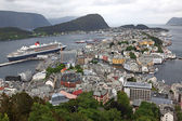 Erial view from the mountain Aksla at the Alesund. Alesund is kn — Stock Photo