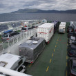 Cars standing inside of the ferry — Stock Photo