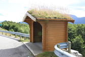 Grass roofed Hut near the road. Norway — Stock Photo