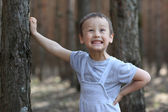 Funny boy 3-4 old at tree in forest — Stock Photo