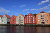 Panoramic picture of Old Storehouses in Trondheim — Stock Photo