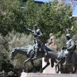 Madrid. Monument to Cervantes, Don Quixote and Sancho Panza. Spain — Stock Photo