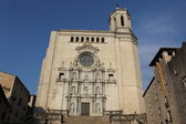 View of facade of the Girona Cathedral, Spain — Stock Photo