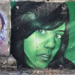 Green girl, graffiti — Stock Photo