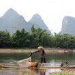 YANGSHUO - JUNE 19: Chinese man fishing with cormorants birds in Yangshuo, Guangxi region, traditional fishing use trained cormorants to fish, June 19, 2012 — Stock Photo