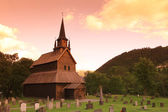 Sunset at old Kaupanger Stave Church, Norway — Stock Photo
