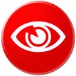 Circle button, icon, sign for eye present by red color — Stock Photo