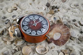Vintage Watch in the sand with seashell — Стоковое фото