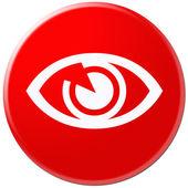 サークル ボタン、アイコン、赤い色によって現在の目のための印 — ストック写真