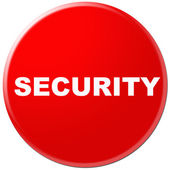 Circle button, icon, sign for Security present by red color — Stock Photo