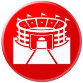 White icon of arena isolated on red — Stock Photo