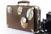 Retro suitcase and camera — Stock Photo