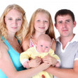 Happy family with adorable little two sisters 8 year and 3 month — Stock Photo