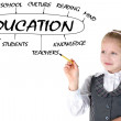 School girl drawing plan of Education — Stock Photo
