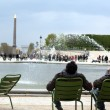 Luxor Obelisk and triumphal arch from Tuileries Garden — Stock Photo