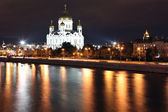 Famous and Beautiful Night View of Cathedral of Jesus Christ the Saviour — Stock Photo