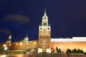 Spassky, Tsarskaya and Nabatnaya Towers of Moscow Kremlin at Red Square — Stok fotoğraf