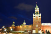 Spassky, Tsarskaya and Nabatnaya Towers of Moscow Kremlin at Red Square — Stock Photo
