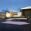 Building stage in Red Square in Moscow for take Olympic fire to  — Stock Photo