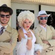 BARCELONA SPAIN - JUNE 16: impersonator Marylin Monroe and boys  — Stock Photo