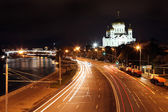 Beautiful Night View Cathedral of Jesus Christ the Saviour and M — Stock Photo