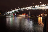 Beautiful Night View Moskva river with Patriarch Bridge in the s — Stock Photo